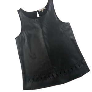 41 Hawthorn Faux Leather Laser Cut Tank Top M257